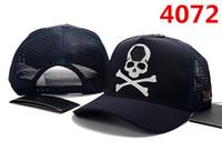 sombreros de cráneo negro al por mayor-Alemania BOLSA 2019 Logo Azul Cráneo y Slip Hats 6 panel skateboard Negro snapback papá sombreros casual visera gorras hueso casquette