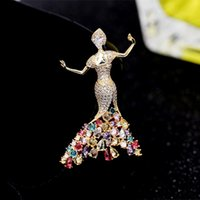 Wholesale ballerina pin resale online - Fashion Girls Charming Brooches Beautiful Princess Ballerina Brooch Zircon Lapel Pins Women Dress Coat Jewelry Accessories