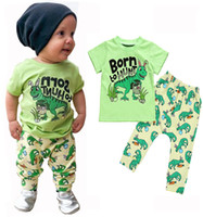 Wholesale dinosaur baby clothes resale online - kids designer clothes boys dinosaur print outfits children Tops pants set summer fashion Boutique baby Clothing Sets C6575