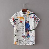 camisa do chiffon dos desenhos animados venda por atacado-Mulheres moda bonito dos desenhos animados padrão de grafite chiffon blusa solta de manga longa camisas senhoras streetwear tops casuais LT874