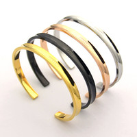 Wholesale fine c resale online - 2019 Stainless Steel Fashion Open C type Lover Bracelets Bangles for Women love Groove Bracelets Pulseira fine Jewelry