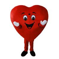 yetişkin kalp kostümü toptan satış-Kırmızı Kalp Yetişkin Maskot Kostüm Yetişkin Boyutu Fantezi Kalp Maskot Kostüm