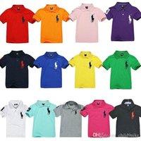 chicas de polo al por mayor-13 colores muchachos de verano camisa polo niños de manga corta transpirables de verano camisetas de marca para niños 2-14 niño niña camisa de color sólido