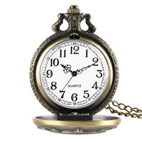 Wholesale big dial watches for women for sale - Group buy Bronze Full Hunter Pocket Watches for Women Alloy Big Dial Pendant Watch Link Chain for Friends Retro Quartz Pocket Watch for Men