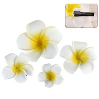 flor de la orquidea pelo de la boda al por mayor-Pcs Hawaiian Flowers Hair Clips Barrette Tropical Wedding Plumeria Flower Party Nupcial Orchid Hairclip Horquilla Accesorios 4pcs Hawaiian ...