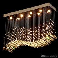 decoração cromada venda por atacado-DHL K9 cristal Lustres LED Chrome Terminado Luz Art Ondas Decor Modern Suspension Lighting Hotel Villa Lâmpada de suspensão
