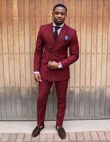 costume skinny bordeaux achat en gros de-Custom Made Bordeaux Double Tuxedo Skinny Hommes Costume Slim Fit 2 Pièce Costumes De Bal De Bal Sur Mesure Groom Blazer Veste + Pantalon