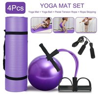 Wholesale pilates exercise balls for sale - Group buy 4Pcs Sports Fitness Yoga Ball Set Includes Cm Fitball Pilates Balance Gym Exercise Yoga Ball Mm Yoga Mat Pedal Ttension Rope bVnkH
