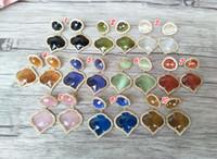 ingrosso fascino di pietra del gemma-Orecchini opale naturale CZ Crystal zircone Micro pavé Gem Ciondola Cat Eye 'Charm pietra Orecchini per le donne Gioielli ER252