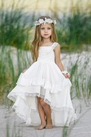 Wholesale dress neck designs for girls resale online - Sweety High Low White Flower Girls Dresses For Wedding A line Lace Square Neck Straps Ruched Applique Design First Communion Dress