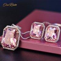 joyas de plata esterlina rosa anillo al por mayor-OneRain Vintage 100% 925 Juegos de plata de ley Pendientes de piedras preciosas de zafiro rosado Pendientes Collar Collar Conjuntos de joyas al por mayor 6-9