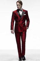 siyah ceket saten yaka toptan satış-Kırmızı Saten Damat Smokin Kruvaze Erkekler Düğün Smokin Siyah Yaka Ceket Blazer Moda Erkekler Yemeği / Darty Suit (Ceket + Pantolon + Kravat) 1288