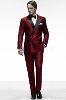 traje negro solapa satinada al por mayor-Red Satin Groom Tuxedos Double-Breasted Men Tuxedos de boda Black Lapel Jacket Blazer Fashion Men Dinner / Darty Suit (Jacket + Pants + Tie) 1288