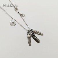 mens feder hängende halskette großhandel-Black Knight Vintage Silberfarbe Indian Eagle Feathers Anhänger Halskette Herren Edelstahl Multi Federn Halskette BLKN0759