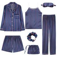 iç çamaşırı uzun pantolon toptan satış-Seksi Çizgili Pijama Set Kadın İpek Rayon Yaz Pijama Kadın Uzun Gömlek Pantolon Dikiş Lingerie Ev Pijama