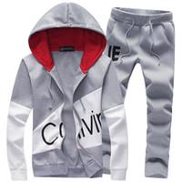erkek çocuk spor takım elbise eşofman toptan satış-2018 marka sporting suit erkekler sıcak kapüşonlu eşofman parça erkek ter takım elbise set mektubu baskı büyük boy eşofman erkek 5XL setleri
