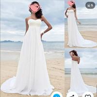 cariño línea imperio gasa al por mayor-Vestidos de novia de playa de cintura de imperio de gasa bohemia Apliques de encaje Vestido de novia griego Vestidos de novia de una línea baratos Vestidos de Novia