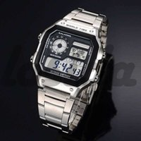 ingrosso vigilanza degli uomini aa-Orologi da polso da uomo di lusso in acciaio inox AE-1200 orologio da uomo Sport Business Casual LED Digital G Style orologi regalo di qualità Higt Watch