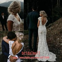 Wholesale romantic sexy mermaid wedding dresses for sale - Group buy Backless Romantic White Lace Mermaid Wedding Dresses Deep V Neck Boho Beach Wedding Gowns Sexy Country Bridal Dresses Robes de mariée