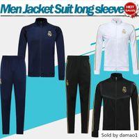 fatos de treino de futebol homens brancos azuis venda por atacado-2020 Terno de Futebol Kit preto 19/20 de manga comprida branco treino Homens Real madrid azul Futebol sweatsuits Jacket Pants