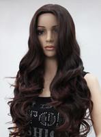 longo cabelo castanho escuro venda por atacado-WBY Quente resistente ao calor Partido cabelo Moda Dark Auburn Longo Ondulado Médio Parte Das Senhoras Das Mulheres peruca Diária