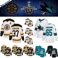camisas de hóquei de bruins de boston venda por atacado-2019 playoffs Boston Bruins Hockey Jerseys San Jose Sharks Hockey Jerseys Pasnak 37 Bergeron 65 Karlsson 63 Marchand Hockey Jerseys