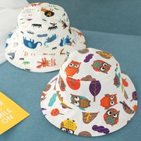Wholesale baby girl bucket hats resale online - Baby Animal Print Fisherman Hat Cute Kids Cartoon Sunshade Cap Boy Sport Bucket Hat Girl Travel Sun Hat LJ TTA1087