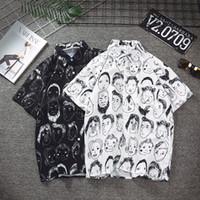 japanische brust großhandel-Mode Sommer Freizeithemd Schnell trocknend Kurzarm Herren Druck Einreiher Hip Hop Shirt Japanese Streetwear