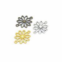 ingrosso connettore d'oro antico-Connettore pendenti per pendenti con ciondoli a forma di fiore di loto in argento antico / bronzo / oro 30 pezzi 25x19mm