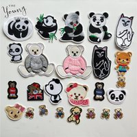 Wholesale patching embroidery dress resale online - Cartoon panda embroidery Patches Appliques Iron On Patch Cute Bear Sticker for Garment T Shirts Dresses Bags DIY Sewing Crafts