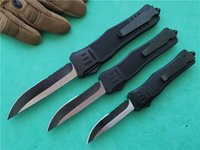 Wholesale tactical combat survival gear for sale - Group buy 3 A161 Tactical combat Dual action automatic knife Size Black Drop Point Serrated Edge Survival gear Hunt knives P879M F