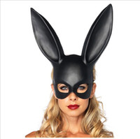 ingrosso conigli conigli costumi-Donna Ragazza Partito Coniglio orecchie Maschera Maschera mascherata Maschera coniglietto per Festa di compleanno Pasqua Costume Halloween Accessorio Nero Bianco