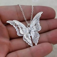 Wholesale teen girls gifts for sale - Group buy DHL Silver Butterfly Necklace Jewelry Gift for Women Teen Girls Pendant Chain Necklace for Women Ladies Girls chain length cm cm