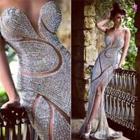 luxuosos vestidos de baile rhinestones venda por atacado-Custom Made Blingbling Vestidos de Noite de Luxo Jóias Strass Sheer Jewel Sereia Até O Chão Celebridade do Tapete Vermelho Vestidos de Baile