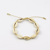 Wholesale seashells resale online - NATURAL PUKA golden shell cowries Boho fashion beach seashell adjustable knot bracelet woman jewellery clothing accessories