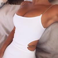 vestidos de spandex clubwear al por mayor-Vestido de tirantes de espagueti de cadena de metal de verano Fantoye para mujer Vestido ajustado sin espalda blanco Vestido de fiesta Clubwear para mujer Vestidos Y19073101