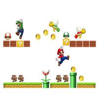 mario kardeşler toptan satış-Süper Mario Kardeşler PVC Çıkarılabilir Duvar Çıkartmaları Çocuk Odası Decoratio