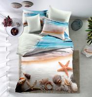 ingrosso set di jilt floreali blu-Set di biancheria da letto 3D Beach Starfish blu Copripiumino in conchiglia con copriletto in cotone