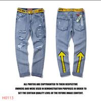 jeans rasgados europeus para homens venda por atacado-Europeus Moda Americana Streetwear dos homens SUΡRΕMΕ Jeans Skinny Fit Destruído Jeans Rasgado Quebrado Punk Calças Homme Hip Hop M