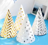 chapeau de joyeux anniversaire achat en gros de-500pcs joyeux anniversaire drôle partie cône chapeau nouvelle année casquettes or argent rayure élastique sangles de cou pour enfants adultes