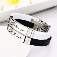 Wholesale scorpion bangle for sale - Group buy 12 Constellations L stainless steel Scorpion Bracelets Men rubber Charm Casual Bracelets Bangles Jewelry For Women Jewelry