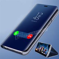 ingrosso flip cover iphone vista-Custodia portacellulare per iphone X XR max S8 s9 plus Huawei mate20 Pro placca trasparente Smart Kickstand specchietto vista Flip Cover