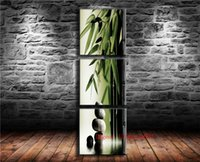 ingrosso tela di olio di bambù-Bamboo Stone, 3P Canvas Painting Living Room Home Decor Moderna pittura a olio di arte murale