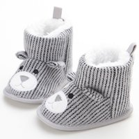 Wholesale baby blue knit fabric for sale - Toddler Winter Warm Boots Newborn Baby Crib Snow Knitting Cute Cartoon Bear Boots