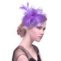 головные уборы оптовых-Women Net Hat Feather Hair Clip Women Cocktail Wedding Party Bridal Hat Race Party Hair Decor wear