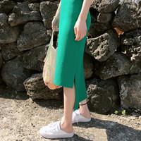 корейская зеленая юбка оптовых-Корейская длинная юбка-карандаш с разрезами и высокой талией Плюс размер Зеленая сумка Хип-юбки Sexy High Street Harajuku Vintage Style Women