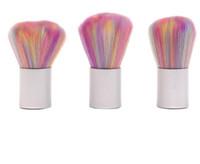 pó de pó de cor venda por atacado-Nova cor do arco íris Prego Poeira Escova AcrílicoUV Gel Unhas De Pó Da Arte Do Prego Removedor de Pó Mais Limpo Pincel Maquiagem Em Pó ferramenta