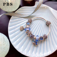 Wholesale turquoise rose pendant resale online - Rose Gold Bracelet for women Luxury jewelry gift Sterling Silver High QualityFlower Lock With Center Plated Beads Pendant DIY Bracelet