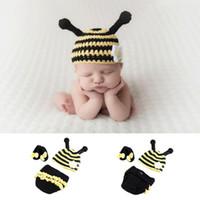 häkeln sie foto-stützen großhandel-Neugeborenes Baby Häkeln Strick Kostüm Prop Outfits Foto Fotografie Baby Biene Hut Foto Requisiten Baby Mädchen Outfits