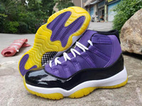 Wholesale sporting goods soccer shoes resale online - New color J11 Jumpman Purple Yellow Black Men Basketball Shoes good quality s Designer Sports Mens Trainer Sneakers